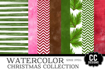 Watercolor Christmas  Papers 12x12 Papers