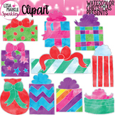 Watercolor Christmas Present Clipart