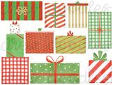 Watercolor Christmas Presents Digital Clip Art Set