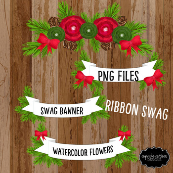 Watercolor Christmas Ribbon Swag Digital Clip Art Set