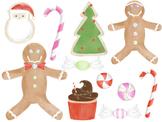 Watercolor Christmas Sweets Digital Clip Art Set