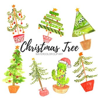 Christmas Tree Clipart Images.Watercolor Christmas Tree Clipart By Writelovely Tpt