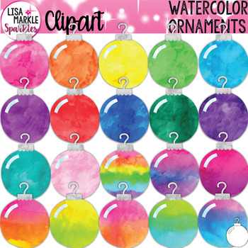 Watercolor Christmas Tree Ornament Clipart