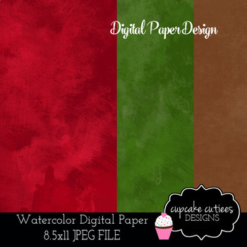 Watercolor Christmas Winter Digital Paper Pack 8.5 x 11 JPEG