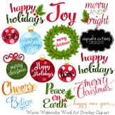 Watercolor Christmas Word Art Overlays- Clip Art Holiday Digital Set