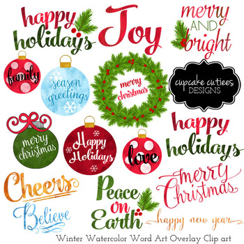Watercolor Christmas Word Art Overlays- Clip Art Holiday Digital Set