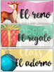 Editable Watercolor Christmas Wordwall in Spanish - Vocabulario Navidad