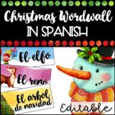 Editable Watercolor Christmas Word wall in Spanish - Vocabulario Navidad