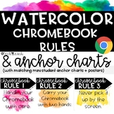 Watercolor Chromebook Rules Posters - Anchor Charts - Brig