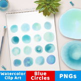 Watercolor Circle Clipart- Small Blue, Watercolor Clipart