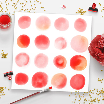 Watercolor Circle Clipart- Small Red, Watercolor Clipart Red Dots, PNG