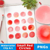 Watercolor Circle Clipart- Small Red, Watercolor Clipart R