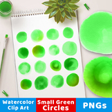 Watercolor Circles Clipart- Small Green, Green Watercolor