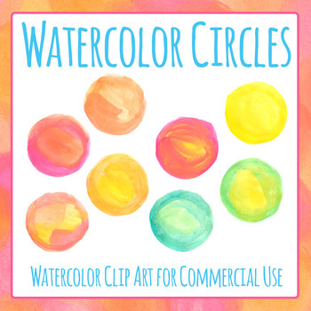Watercolor Circles Handpainted Clip Art for Commercial Use