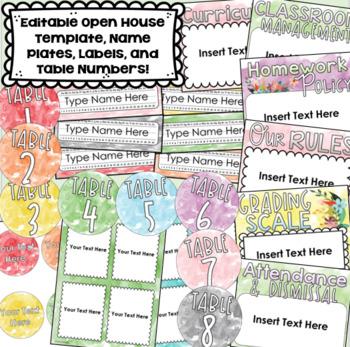 watercolor class decor bundle behavior chart name tags labels