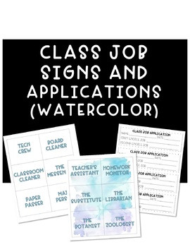 Watercolor Class Job Signs and Application