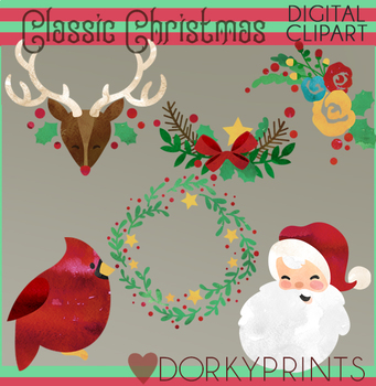 Watercolor Classic Christmas Clipart