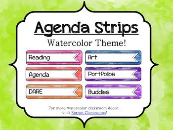 Watercolor Classroom Agenda Strips {Editable}