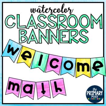 Watercolor Classroom Banner Templates