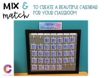 Watercolor Classroom Calendar