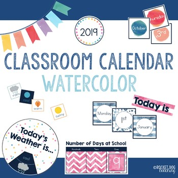 1aa9a1ea2f74 Watercolor Classroom Calendar and Weather Set by Rocket Dog Teaching