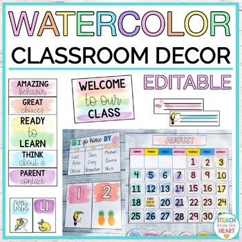 Watercolor Classroom Decor EDITABLE