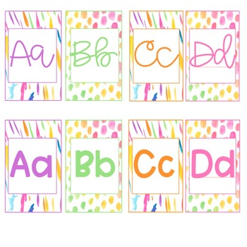 Watercolor Classroom Decor ABSTRACT- Alphabet