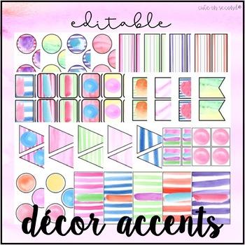 Watercolor Classroom Decor Accents Editable