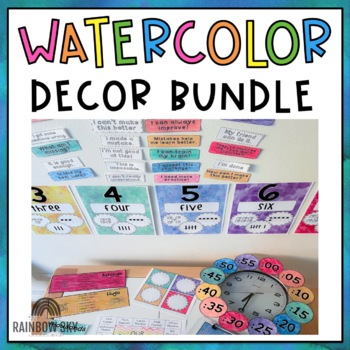 Watercolor Classroom Decor BUNDLE {Rainbow}