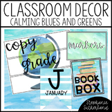 Watercolor Classroom Decor: Blue and Green