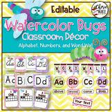 Watercolor Classroom Decor | Bugs Alphabet Number and Word