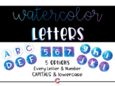 Watercolor Classroom Decor - Bulletin Board Letters and Numbers
