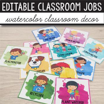 Watercolor Classroom Decor Bundle EDITABLE - Bright Classroom Decor