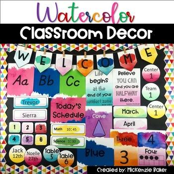 Watercolor Classroom Decor Bundle Editable