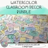 Watercolor Classroom Decor Bundle-Editable Parts