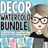 Watercolor Classroom Decor Bundle with Bonus File