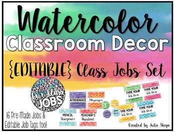 Watercolor Classroom Decor {EDITABLE Job Chart}