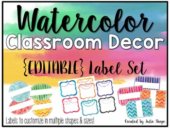 Watercolor Classroom Decor {EDITABLE Labels}
