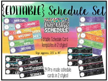 Watercolor Classroom Decor {EDITABLE Schedule Chart}