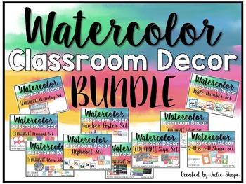 Watercolor Classroom Decor {THE BUNDLE}
