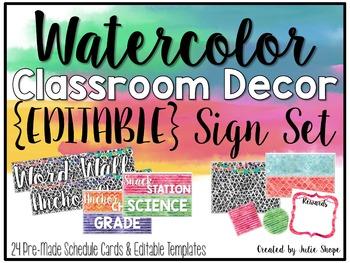 Watercolor Classroom Decor {EDITABLE Signs}