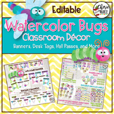 Watercolor Classroom Decor | Editable Banners Tags Labels & More