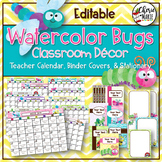 Watercolor Classroom Decor | Editable Binder Covers & Calendar