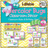 Watercolor Classroom Decor | Editable Birthday Chart & Cla