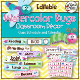 Watercolor Classroom Decor | Editable Calendar & Daily Schedule