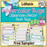 Watercolor Classroom Decor Editable Name Plates / Desk Tags