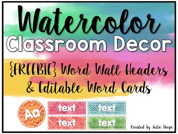 Watercolor Classroom Decor {FREE Word Wall Headers & Edita