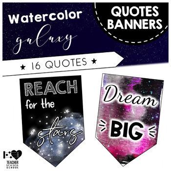 Watercolor Classroom Decor FULL Bundle - Galaxy Space Theme