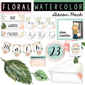 Watercolor Classroom Decor Pack [rustic, floral, trendy, pretty, boho)