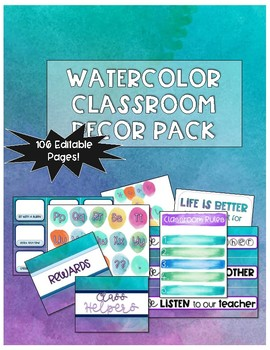 Watercolor Classroom Decor Set